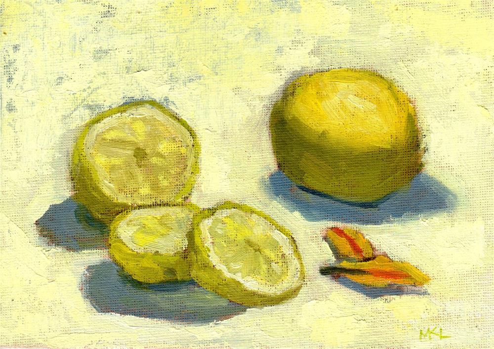 """Sliced Lemon"" original fine art by Marlene Lee"