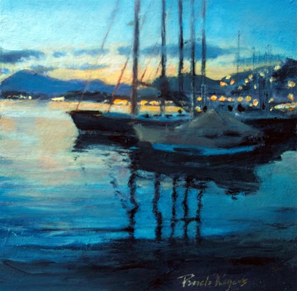 """Poros Twilight and Sails"" original fine art by Pamela Jane Rogers"
