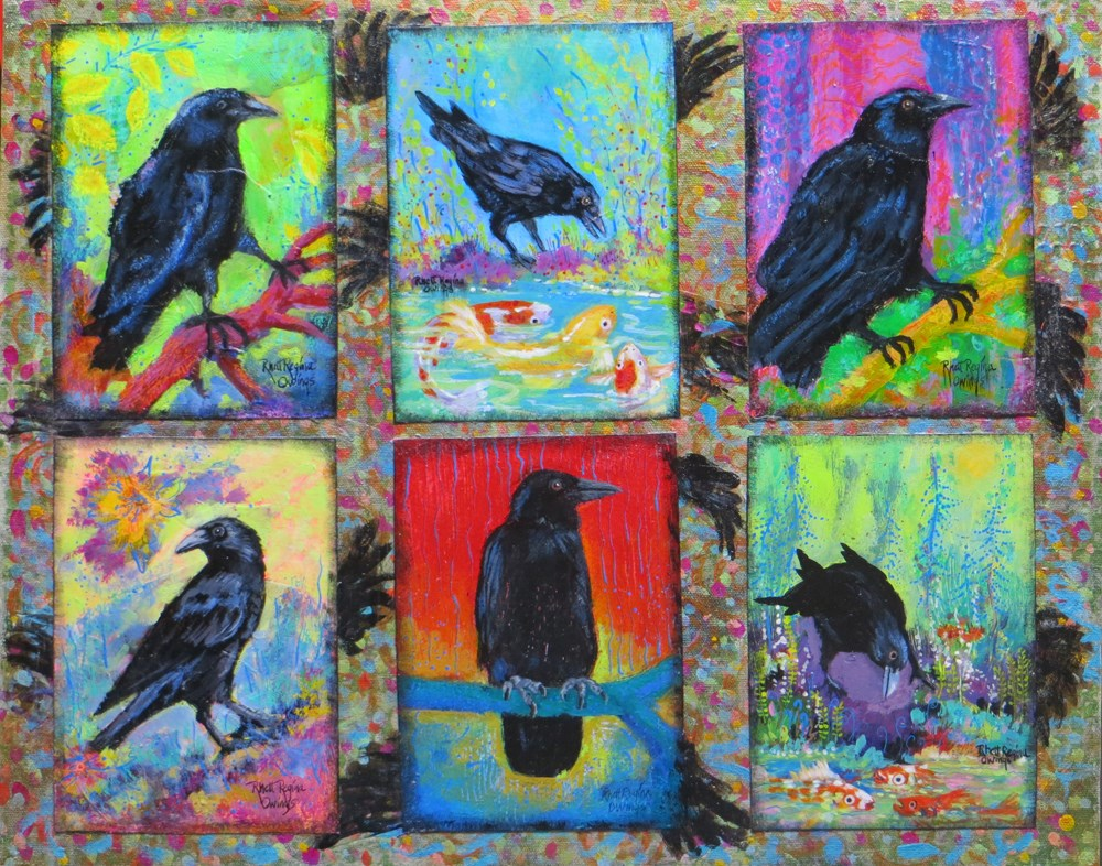 """Six Rowdy Crows"" original fine art by Rhett Regina Owings"