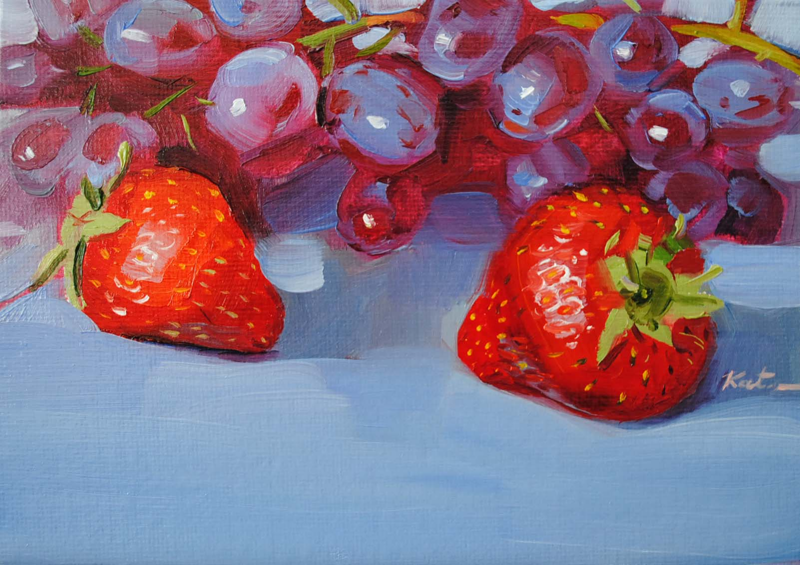 """Two red strawberries"" original fine art by Elena Katsyura"