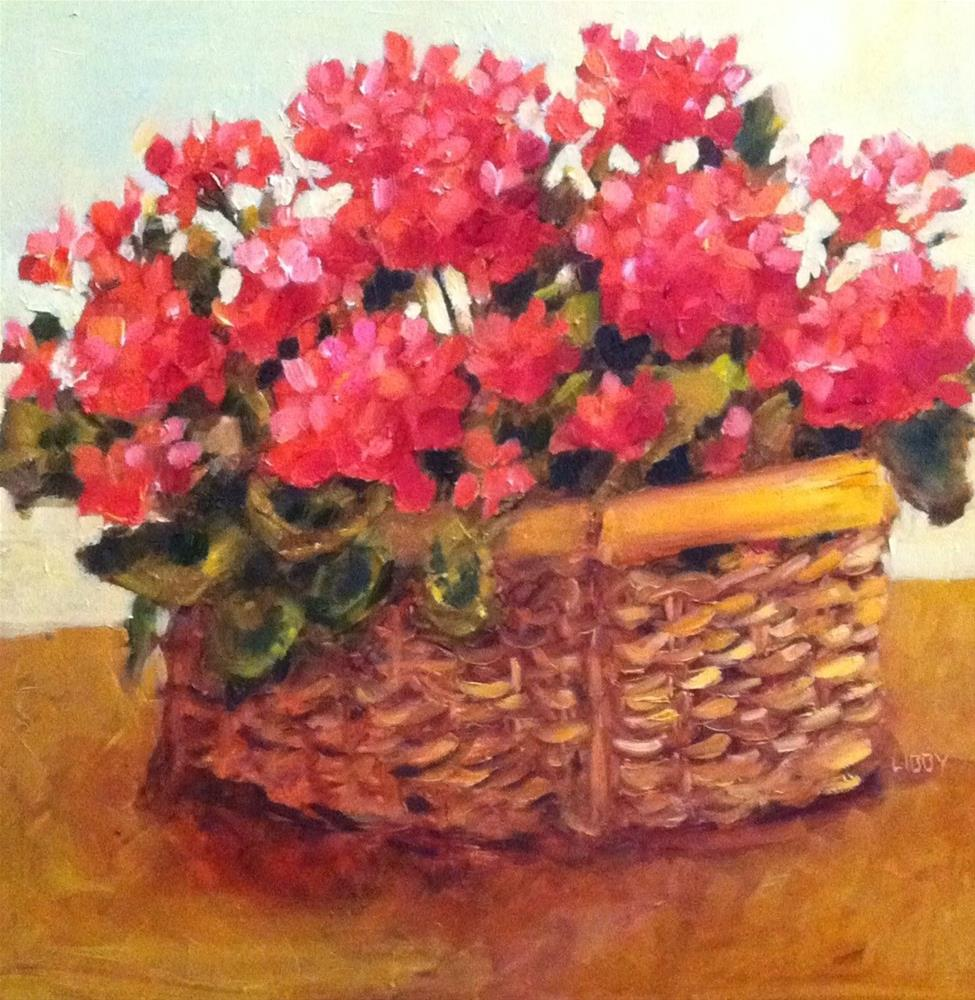 """Basket of Geraniums"" original fine art by Libby Anderson"