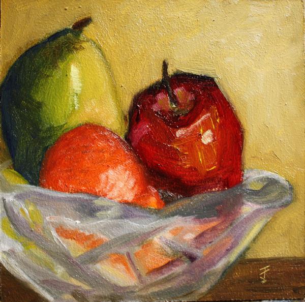 """Fruit Bowl, Take 2"" original fine art by Jane Frederick"