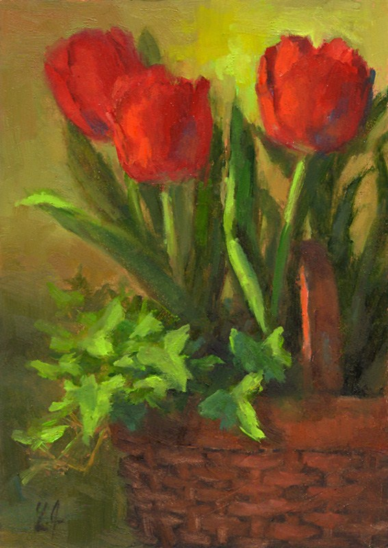 """Basket of Tulips"" original fine art by Linda Jacobus"