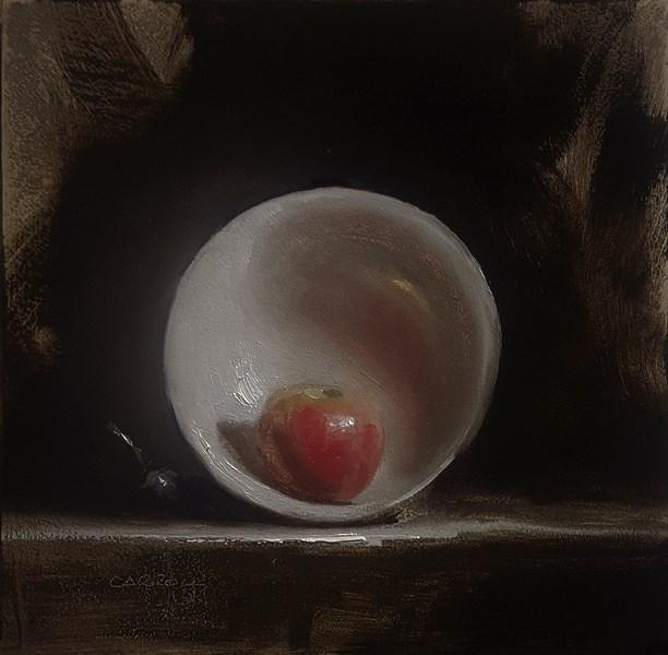 """""""Apple in Bowl"""" original fine art by Neil Carroll"""
