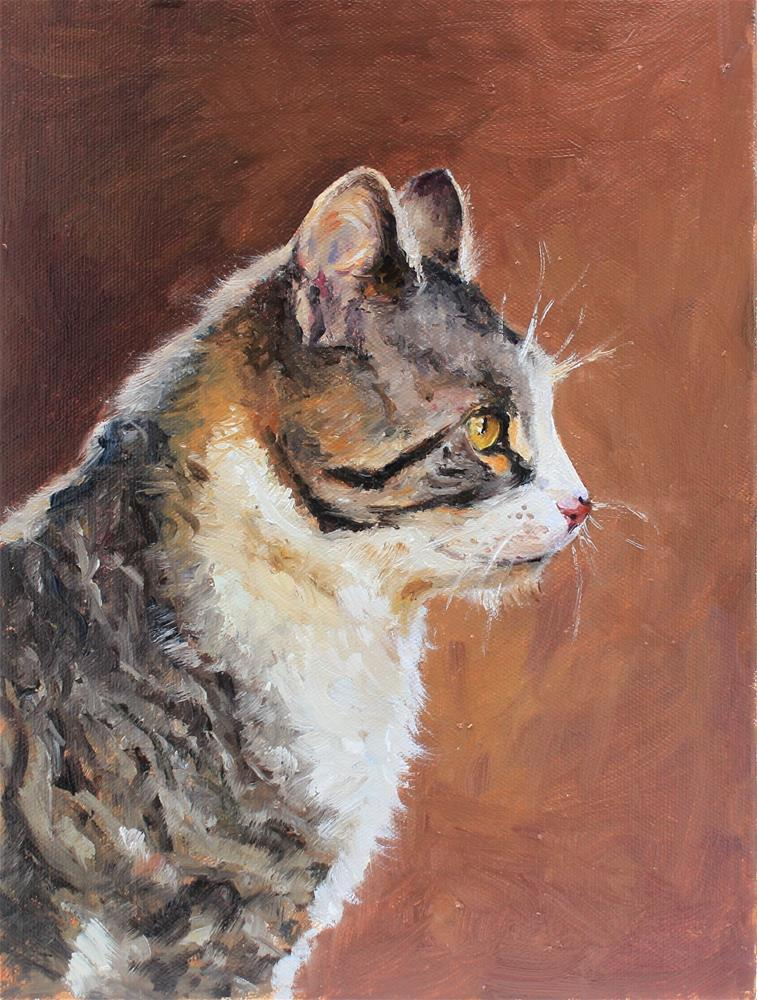 """Cat in profile"" original fine art by Marco Vazquez"