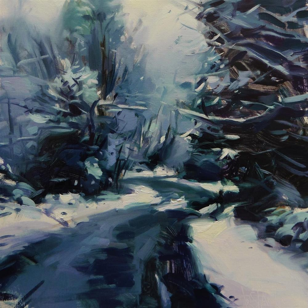 """Snowfall road"" original fine art by Víctor Tristante"