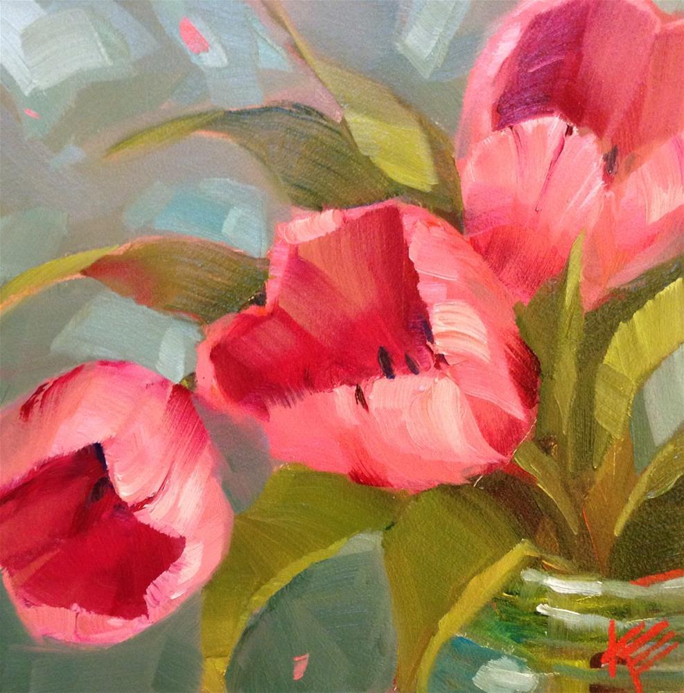 """Pink on Teal"" original fine art by Krista Eaton"
