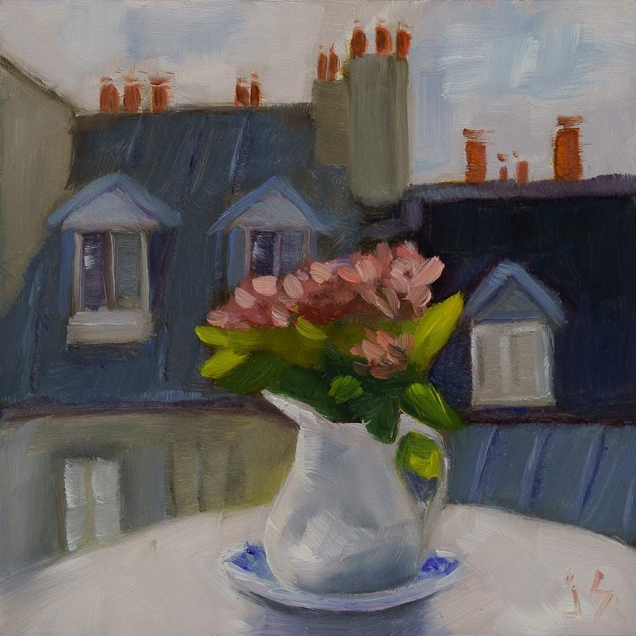 """Rooftop Still Life"" original fine art by Johnna Schelling"