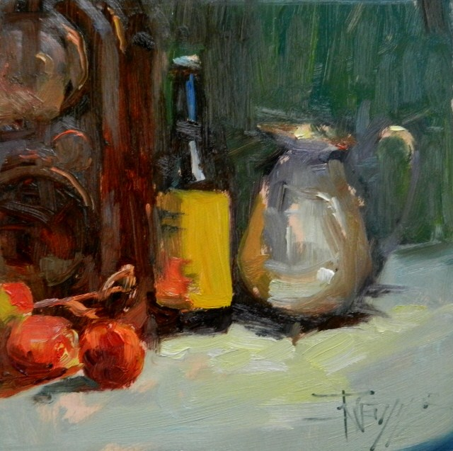 """""""Silver Pitcher still life oil painting by Robin Weiss"""" original fine art by Robin Weiss"""