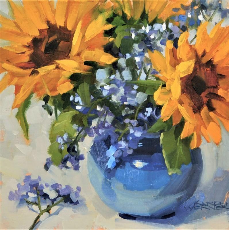 """Sunny In Blue"" original fine art by Karen Werner"