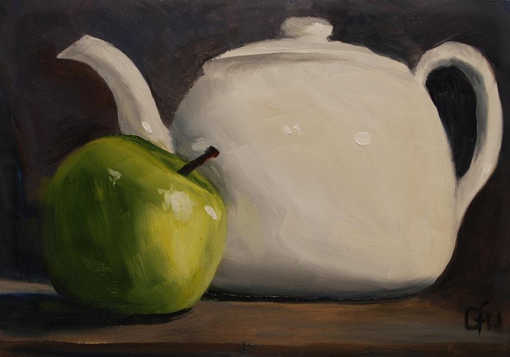 """Teapot and Apple"" original fine art by Gary Westlake"