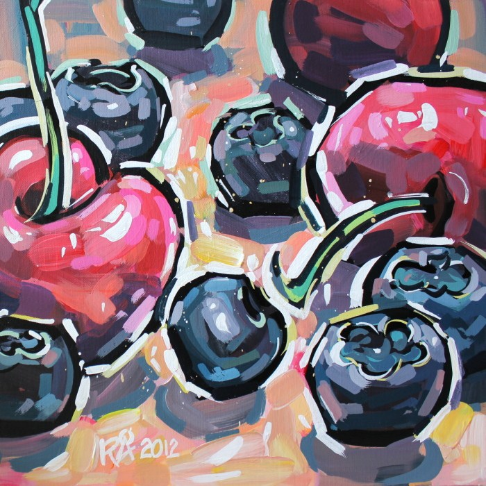 """Healthy snacks 5"" original fine art by Roger Akesson"