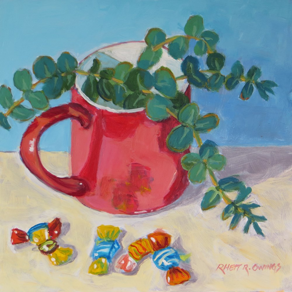 """Red Mug with Glass Candies"" original fine art by Rhett Regina Owings"