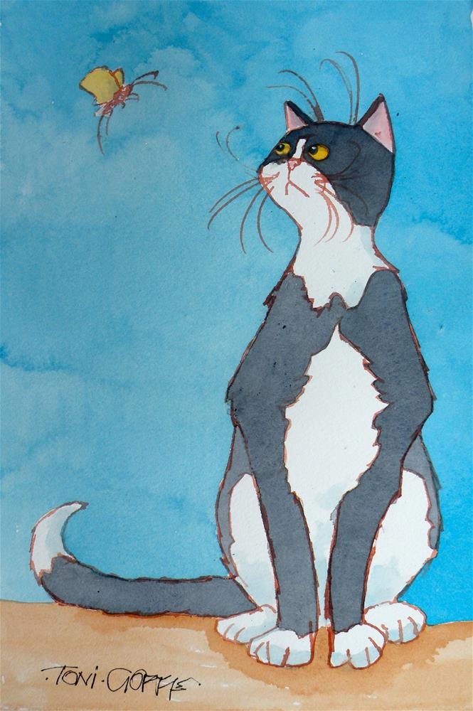 """""""You wont get me up in one of those"""" original fine art by Toni Goffe"""
