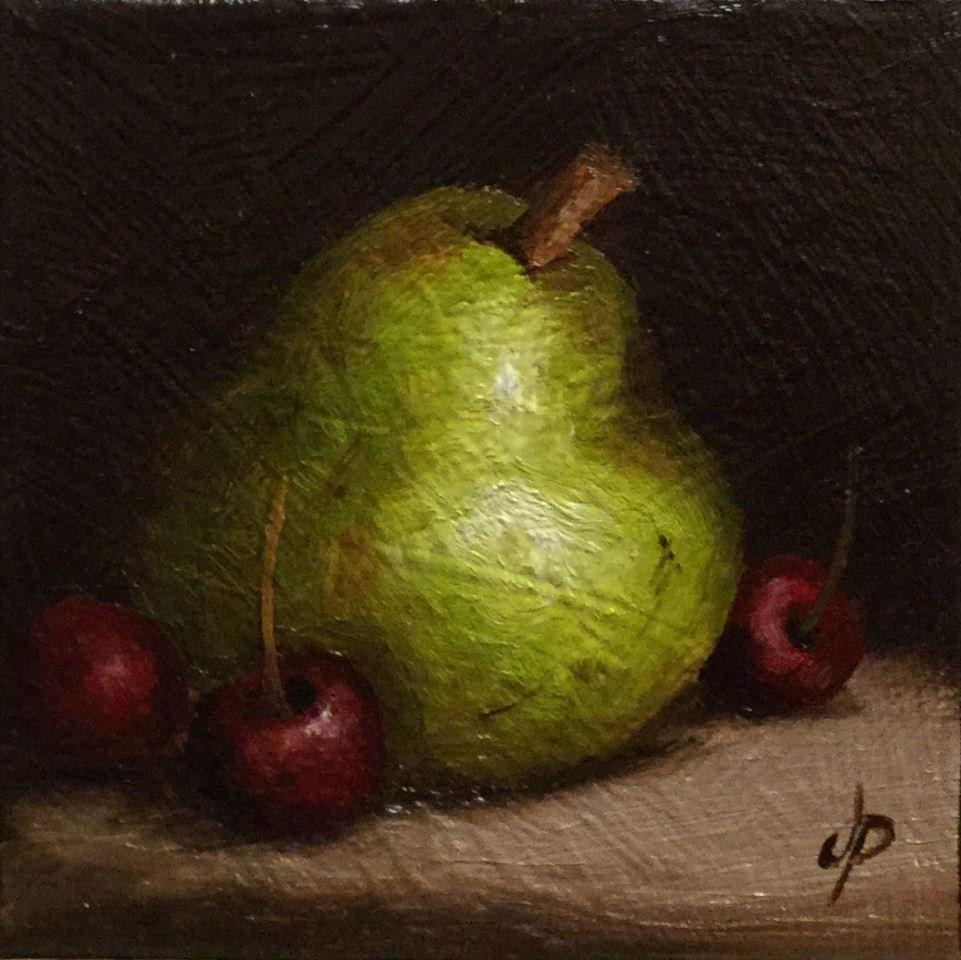 """Little Pear & Cherries"" original fine art by Jane Palmer"