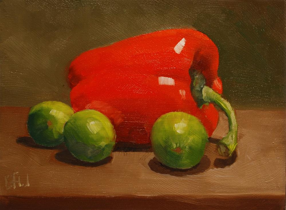 """""""Red Pepper and Limes"""" original fine art by Gary Westlake"""