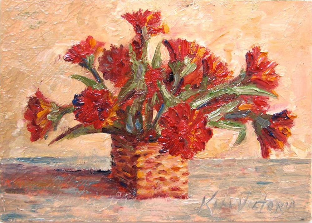 """Miniature Red Carnations"" original fine art by Kim Victoria"