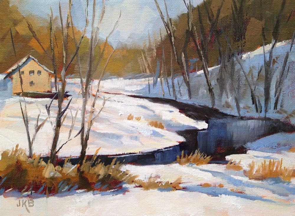 """""""Where the River Bends"""" original fine art by Jeanne Bruneau"""