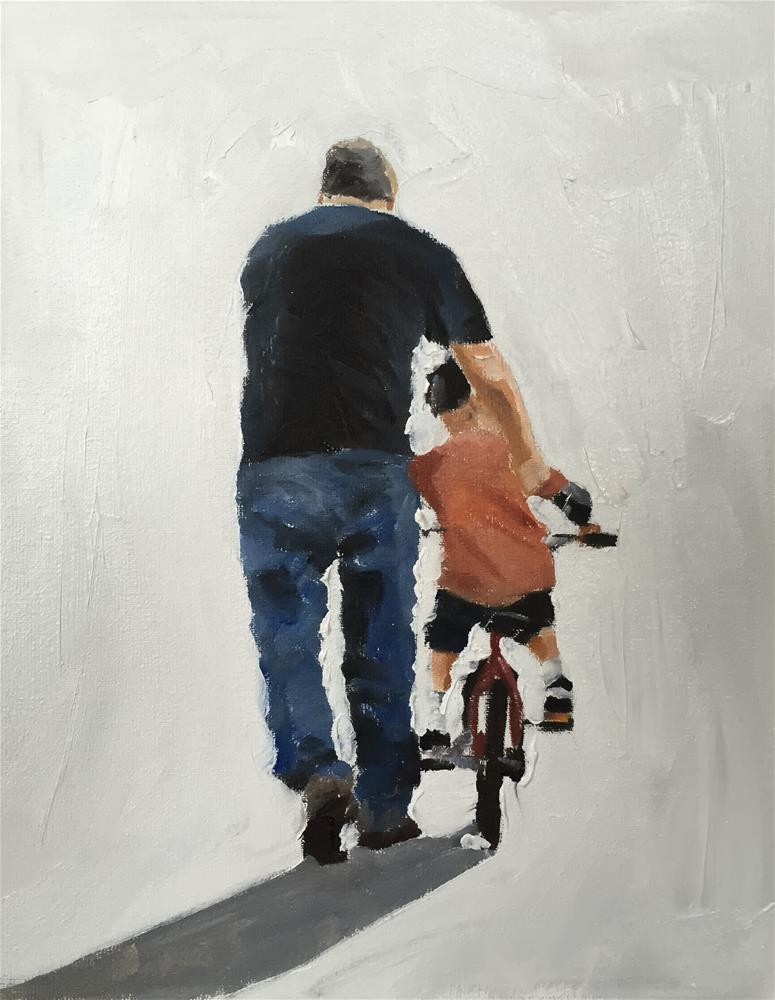 """""""Learning to Ride"""" original fine art by James Coates"""