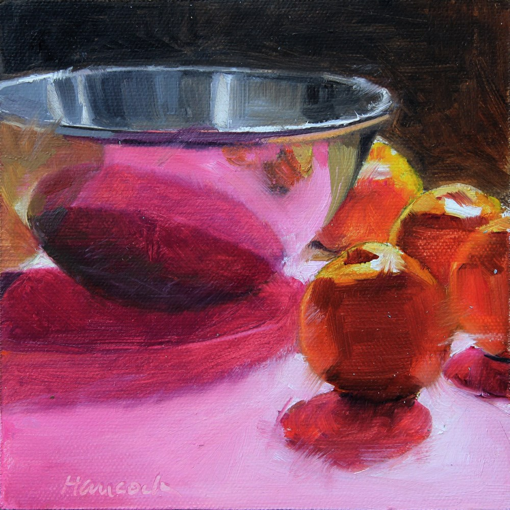 """""""Metal Bowl with Clementines on Pink"""" original fine art by Gretchen Hancock"""