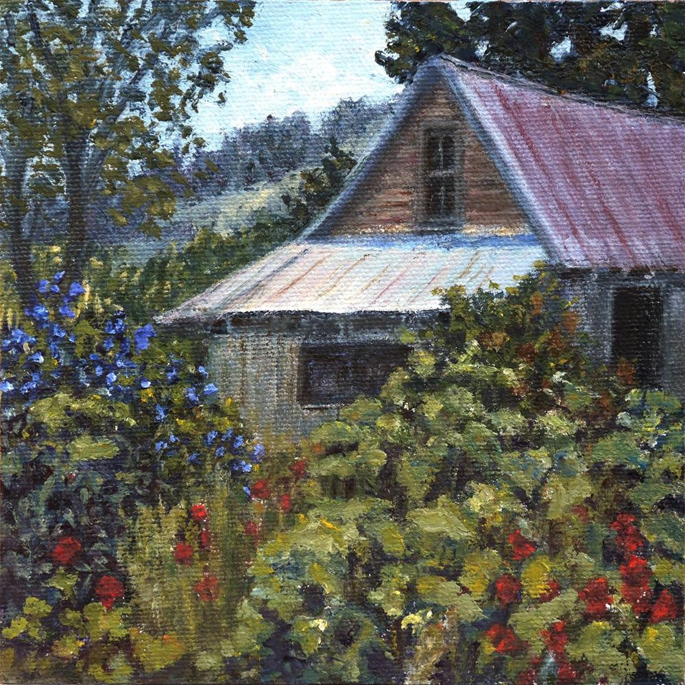 """Barn Garden"" original fine art by Candi Hogan"