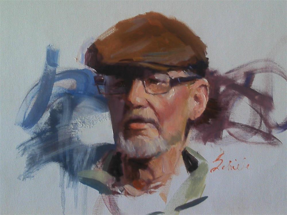 """head sketch of old man in glasses and cap"" original fine art by Richard Schiele"