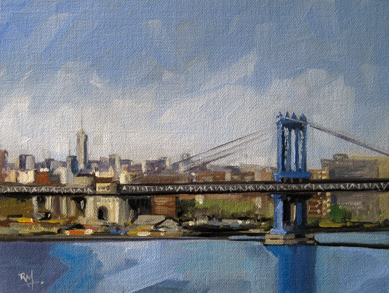 """No 789 Manhatten Bridge"" original fine art by Robin J Mitchell"