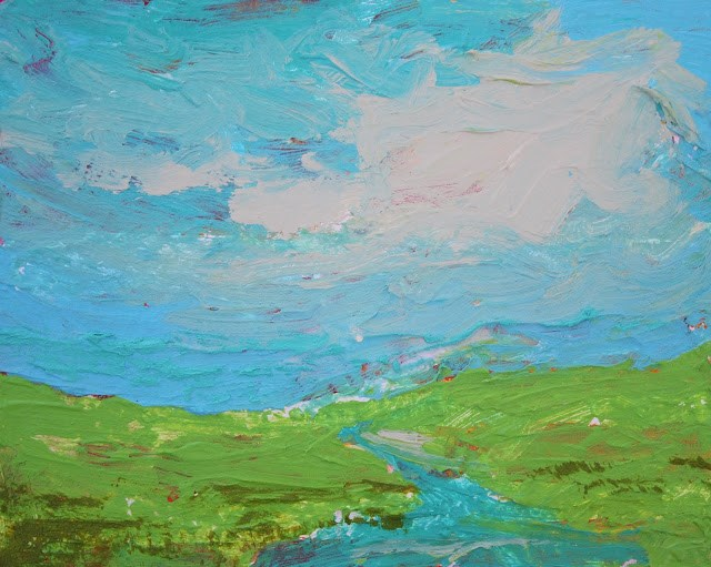 """""""Spring Meadow, Contemporary Landscape Paintings by Amy Whitehouse"""" original fine art by Amy Whitehouse"""