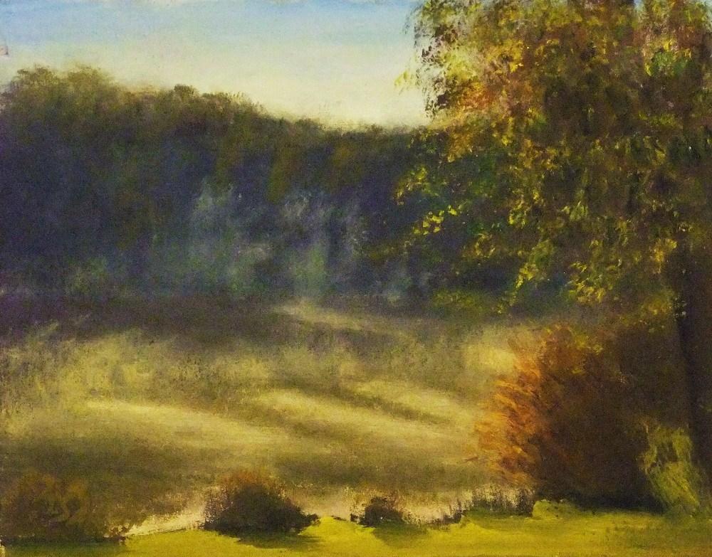 """Rising fog, lakeside early morning - one week later"" original fine art by Michael Sason"
