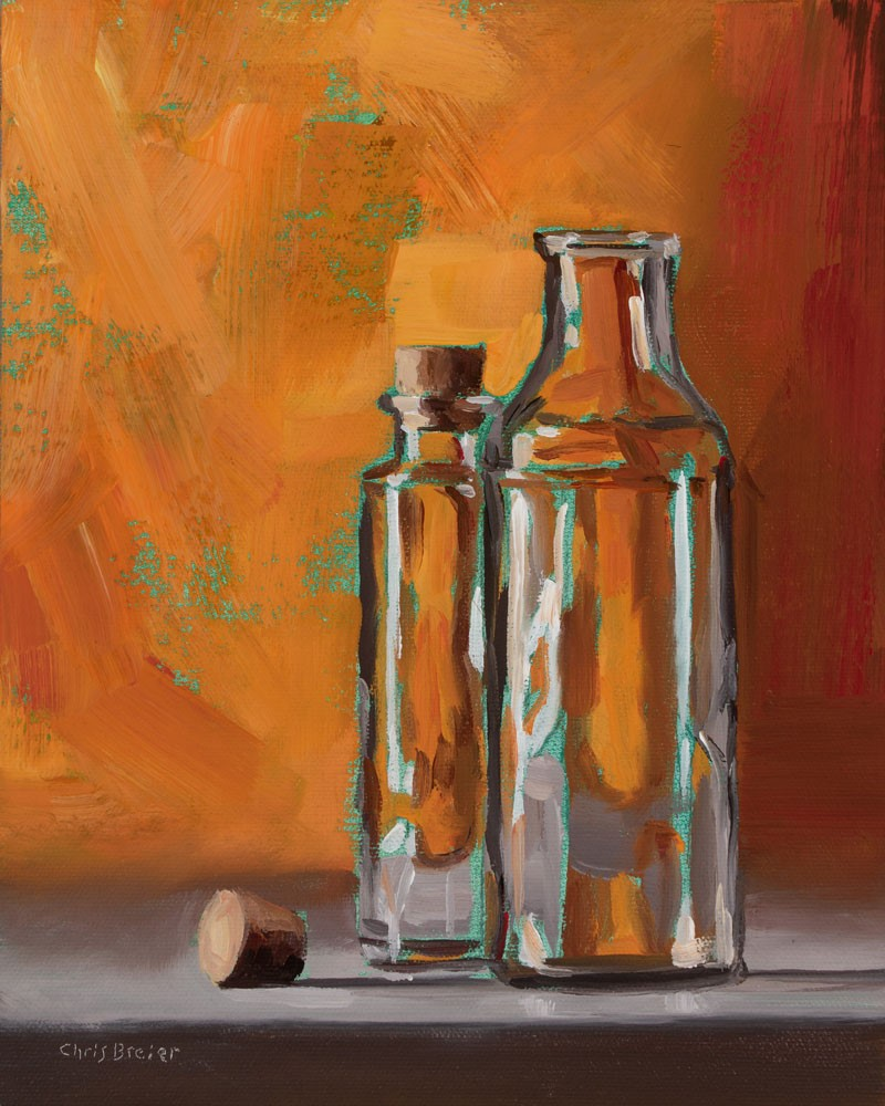 """Bottles With Turquoise"" original fine art by Chris Breier"