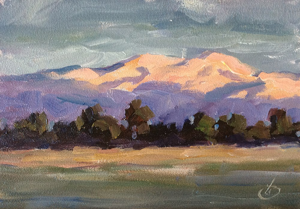 """""""CALIFORNIA IMPRESSIONIST MOUNTAINS AT SUNSET"""" original fine art by Tom Brown"""