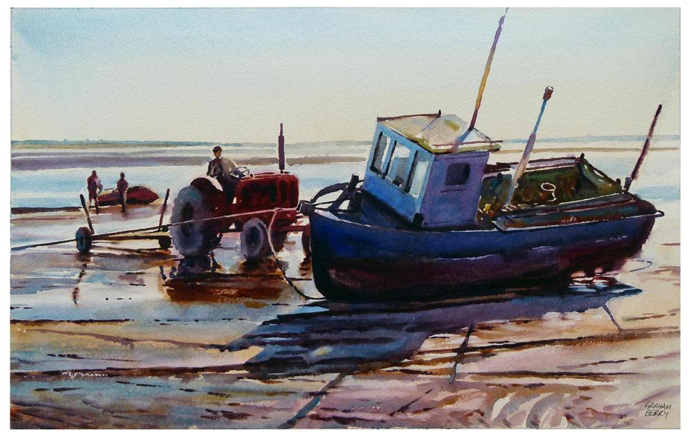 """Tractor and boat."" original fine art by Graham Berry"
