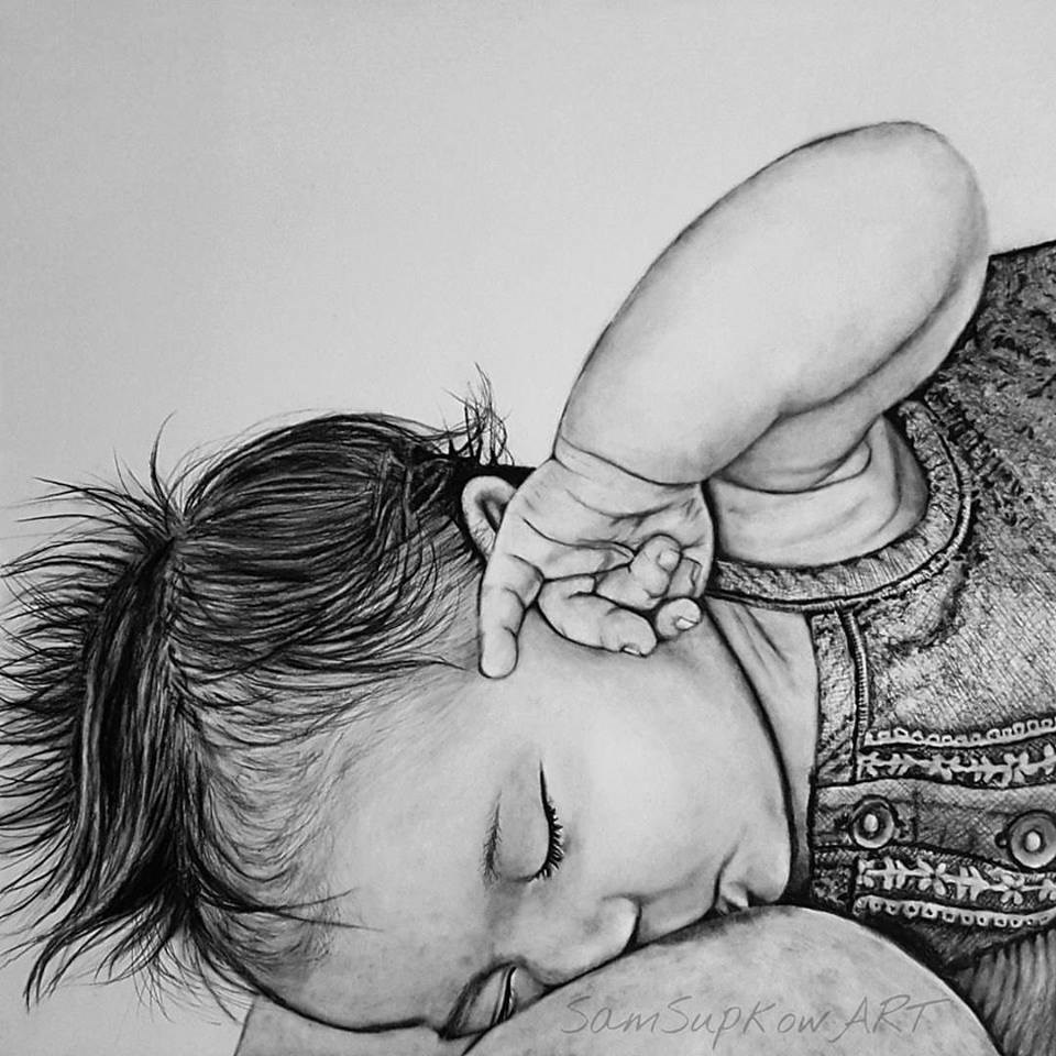 """""""Lia nursing."""" original fine art by Sam Supkow"""