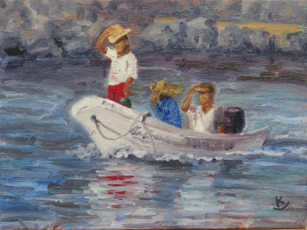 """Returning to Port"" original fine art by Richard Kiehn"