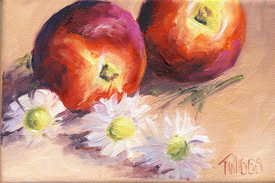 """White Nectarines 2"" original fine art by Lori Twiggs"
