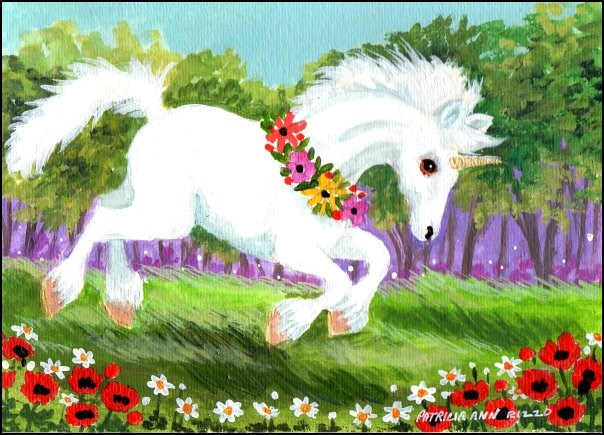 """""""Happy Little Unicorn"""" original fine art by Patricia Ann Rizzo"""