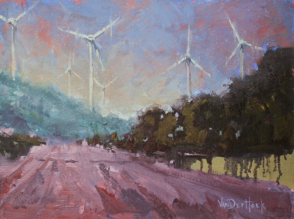 """Contemporary Windmills"" original fine art by Kim VanDerHoek"