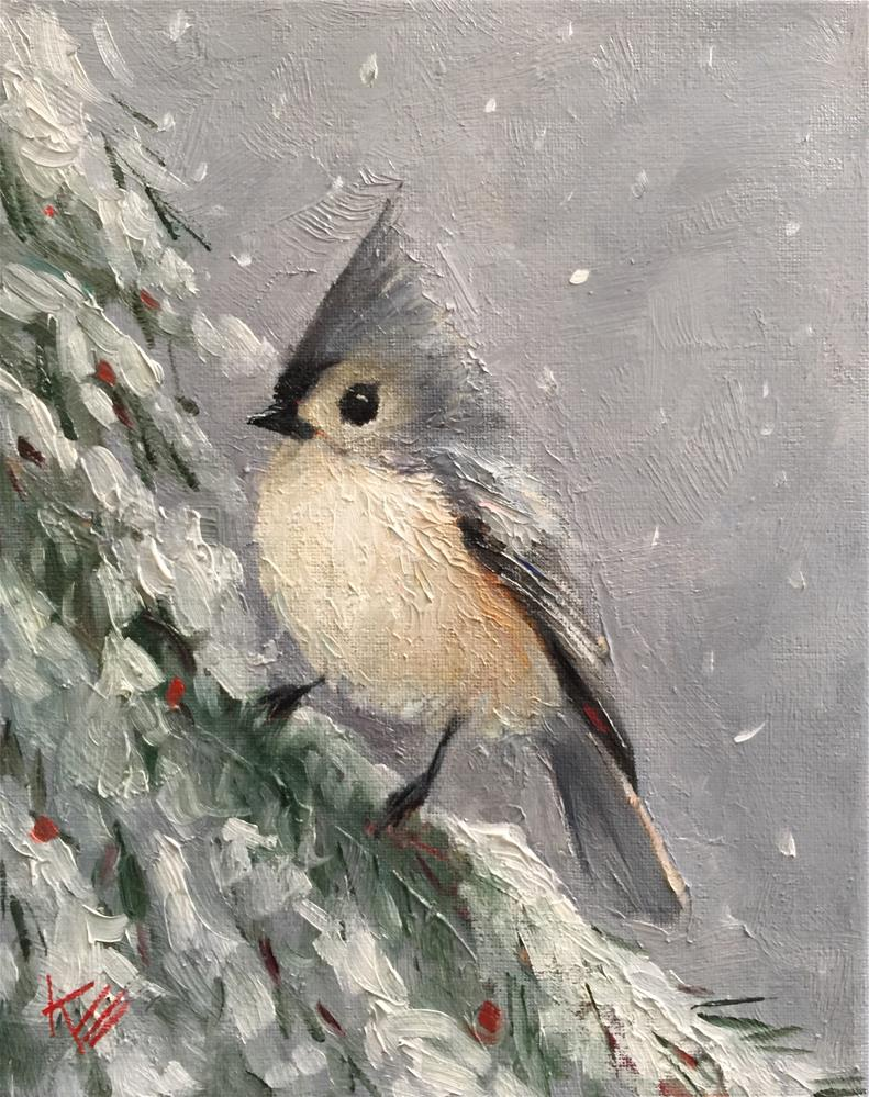 """Titmouse and Snowy Fir"" original fine art by Krista Eaton"
