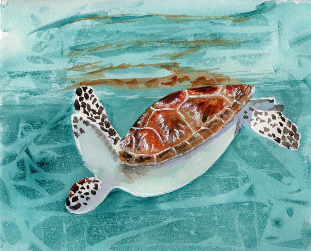 """Green Sea Turtle"" original fine art by Bunny Griffeth"