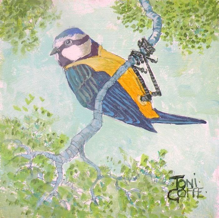 """Bluetit"" original fine art by Toni Goffe"