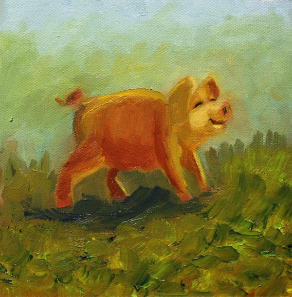 """Hog Heaven"" original fine art by Jane Frederick"