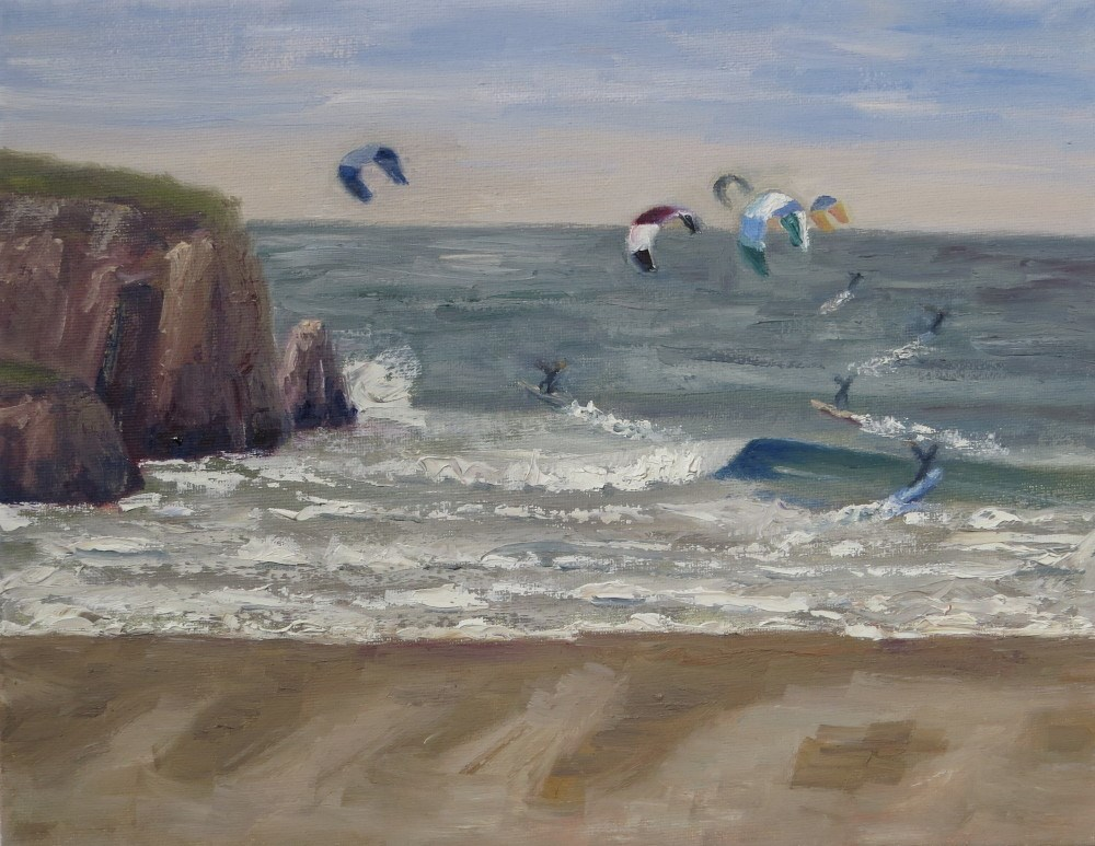 """Five Kites"" original fine art by Richard Kiehn"