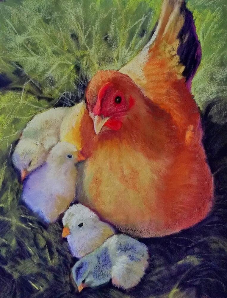 """Madonna and Chicks"" original fine art by Anna Lisa Leal"