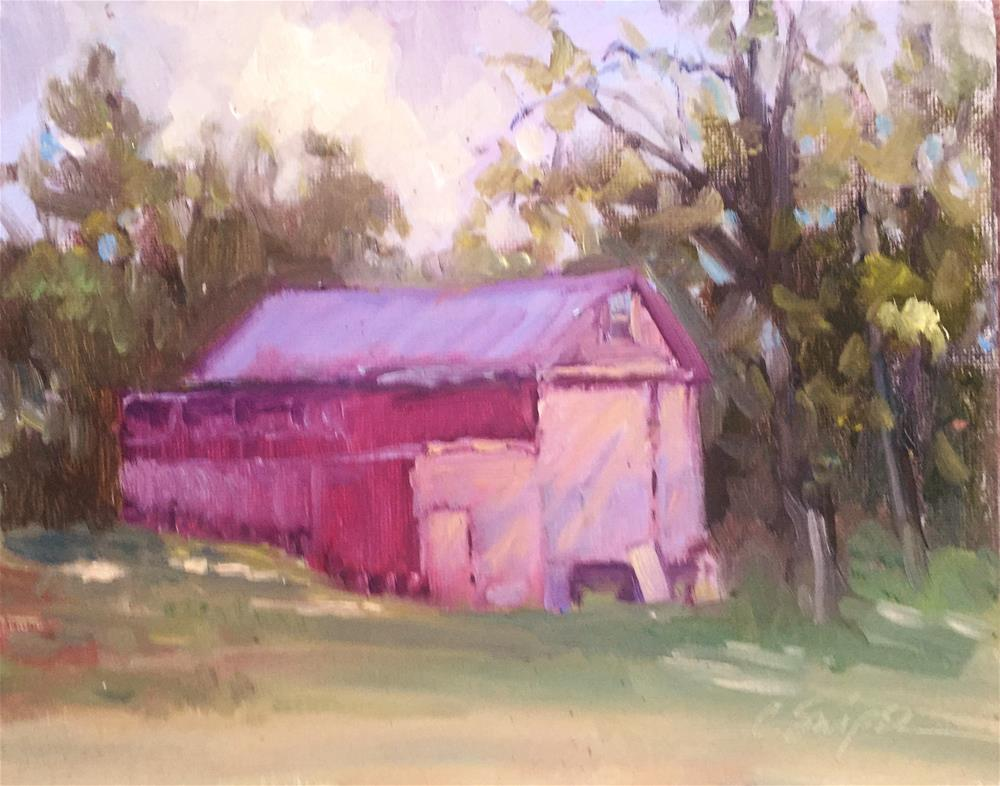 """""""Red Barn in the Sunlight"""" original fine art by Connie Snipes"""