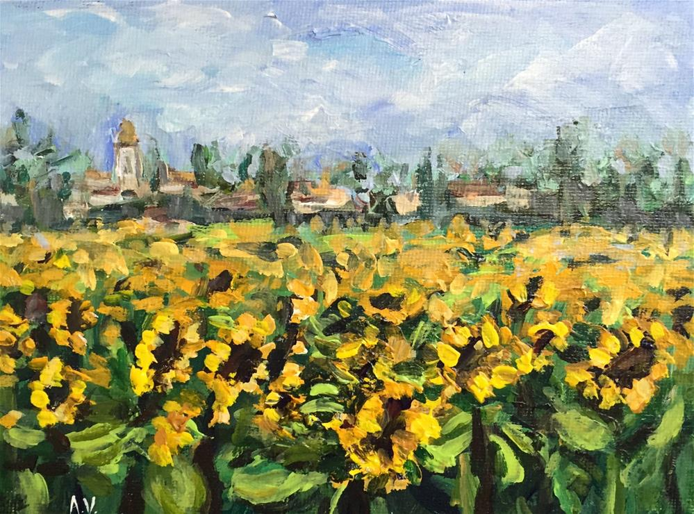 """Sunflower Field"" original fine art by Alina Vidulescu"
