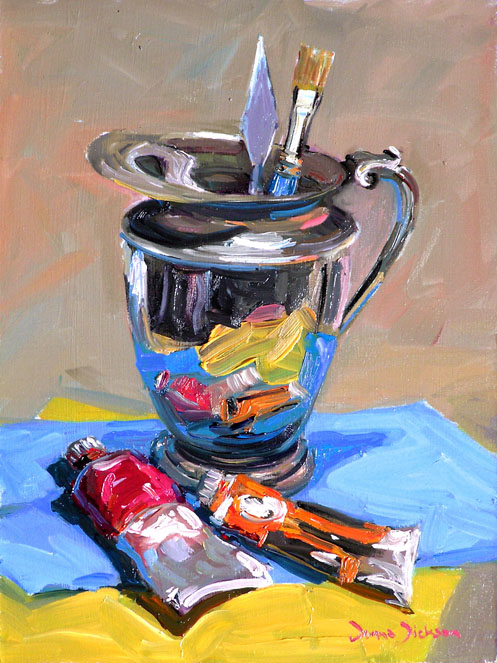 """""""Pitcher with Paints"""" original fine art by Donna Dickson"""