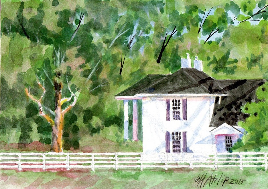 """Long White Fence"" original fine art by Jeff Atnip"