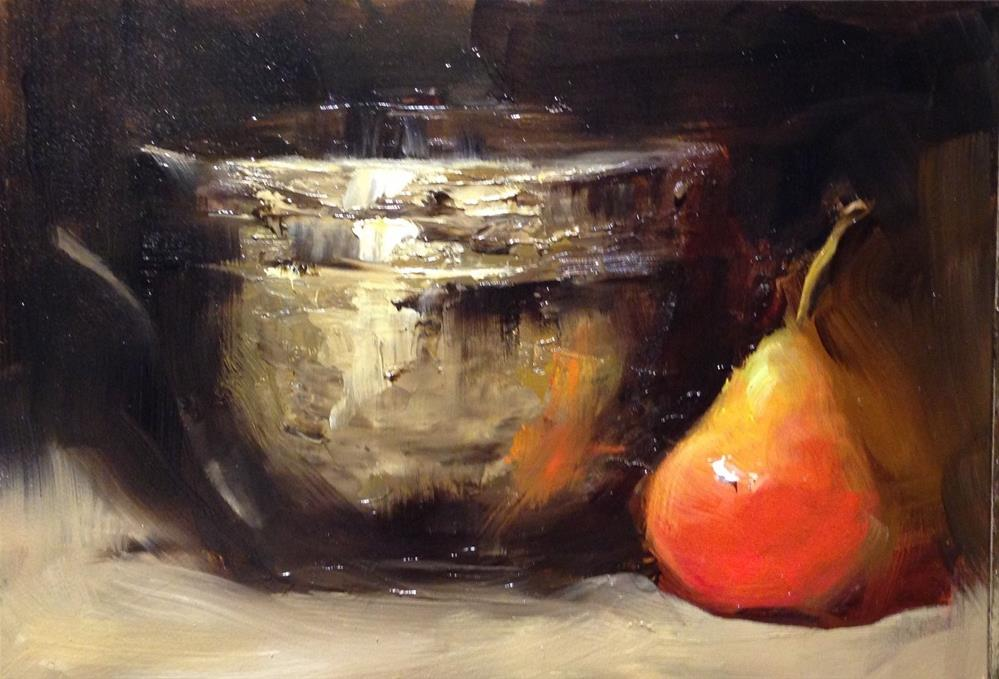 """""""Old Brass and a Pear"""" original fine art by Dorothy Woolbright"""