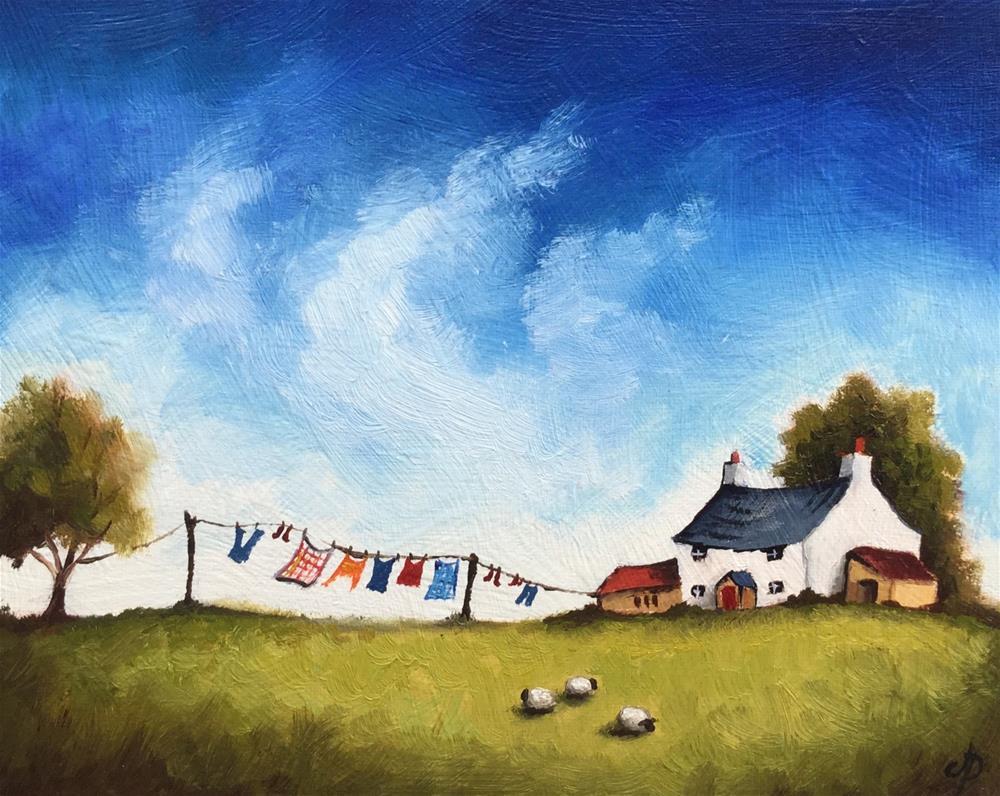 """Washing line"" original fine art by Jane Palmer"