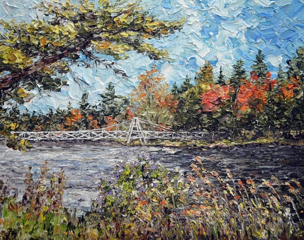 """""""Wanakena Foot Bridge"""" original fine art by Gloria Ester"""
